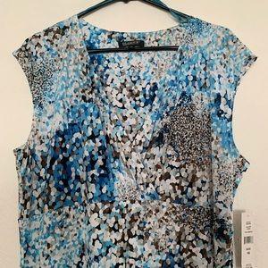 Glamour Dress size 16 Blue, brown, white.